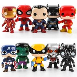 modelos de batman Rebajas Funko pop Marvel figuras de acción Avengers League Super Hero Personajes Figuras Batman Spiderman 10pcs / lot para niños regalos DHL