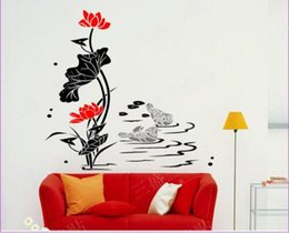 Wholesale Lotus Wall Decals - Free shipping Traditional Chinese Removable Wall Decoration Lotus And Mandarin Duck Nursery Wall Decals Flowers Vinyl Stickers Home Decor Ar