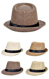 Wholesale Wide Brimmed Cooling Hats - Hot fashion jazz straw hats for men Panama woven hats wide brim sun Hats cool men jazz top caps