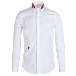 Wholesale Luxury Men Dress Shirt - 2018 Bee Embroidery Shirt Men Luxury Brand Design Mens Dress Shirts Long Sleeve Slim Fit Chemise Homme Cotton Man Shirt 3XL