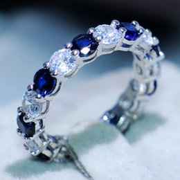 Wholesale Blue Sapphire Jewelry Sets - Victoria Wieck Luxury Jewelry 925 Sterling Silver Round Cut Blue Sapphire CZ Didmond Enternity Gemstones Women Wedding Engagement Band Ring