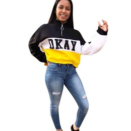 T-shirts dhl online-OKAY Frauen Hoodies Rollkragen Langarm Crop Tops drucken Brief Hoody Patchwork gestreiften Mantel Oberbekleidung Sweatshirt beiläufige kurze Hemd DHL