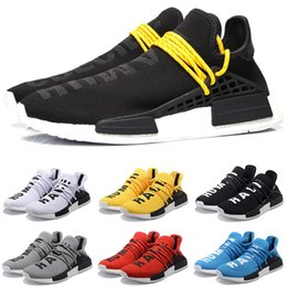 12 zapatos baratos Rebajas Cheap NMD carrera humana zapatos para correr hombres mujeres Pharrell Williams HU corredor amarillo negro blanco rojo verde gris azul deportes zapatillas tamaño 5-12