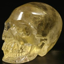 Wholesale Natural Hand Carved Stones - 400-500g Natural hand carved yellow citrine stone quartz crystal skull gemstone human head for healing Reiki