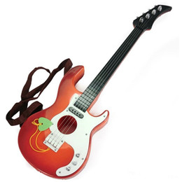 Wholesale Toys Guitars - Children Educational Toy Musical Mini Guitar With 4 Strings Brown or Orange for Beginners Practice Kids Boys & Girls Toy Gift