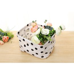 Wholesale Fabric Desk - Foldable Mini Storage Basket Square Simple Style Cosmetics Storage Bag Cotton Fabric Storage Bins Simple Desk Shelf Baskets Organizers