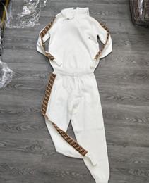 Pantalones de punto online-2018 Europa y los Estados Unidos otoño nueva letra F algodón mercerizado traje de punto casual sudadera con capucha + pantalones de los pies pantalones de dos piezas de las mujeres