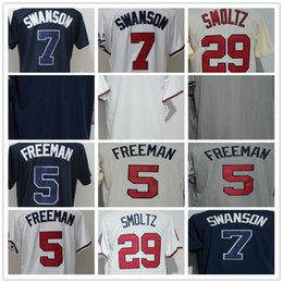 57a4de14b 2018 Wholesale Men s Atlanta Jersey 5 Freemamn 7 Swanson 29 John Smoltz  Blank White Dark Blue Grey Cool Base Baseball Jerseys discount atlanta  baseball ...