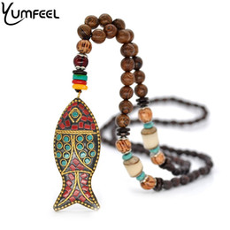 Wholesale fish pendant gold filled - Yumfeel New Ethnic Bohemian Vintage Tribal Necklace Jewelry Handmade Fish Pendants & Necklaces Gifts