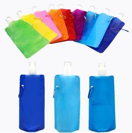 bolsas de agua Rebajas La más nueva botella de agua plegable de 480 ml Botella de agua deportiva portátil plegable Bolsa de agua Drinkware 1000 unids / lote I195