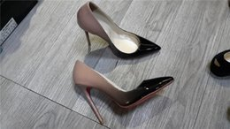 Wholesale Open Toe Fashion Shoe - Women Black Sheepskin Nude Patent Leather Poined Toe Women Pumps,120mm Fashion lRed Bottom High Heels Shoes for Women Wedding shoes