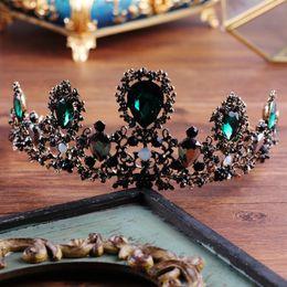 Wholesale Full Pageant Crown Tiaras - European Drop Green and Black Crystal Tiaras Vintage Luxury Pearl Full Rhinestone Pageant Queen Crowns Baroque Wedding Hair Accessories