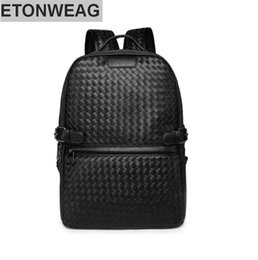Wholesale Crochet Phone - Origi Wind leisure knitting factory wholesale brand mens bags college backpack traveling fashion retro contracted brand leather woven men ba