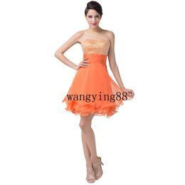d880490093 2018 Cute Grace Karin Naranja vestidos cortos de regreso al hogar Gasa  Sweetheart Prom Dress sexy más el tamaño del club vestidos