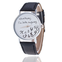 Wholesale Late Glass - Halloween Funny Unisex Men Women Analog Quartz Whatever,I'm Late Anyway Wrist Watch Christmas Gifts New Year Gifts
