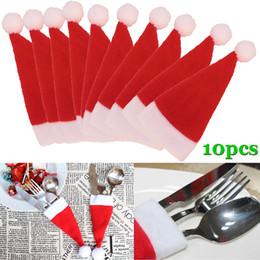10 pezzi / set cappello di natale posate borsa sacchetti regalo di caramelle tasca tascabile coltello titolare tavolo decorazione cena J2Y da