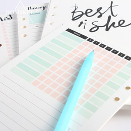 Wholesale Core Accounts - New cute 6 hole binder spiral notebooks replacement inner paper core stationery:4 kinds:monthly weekly planner,list,account A5A6