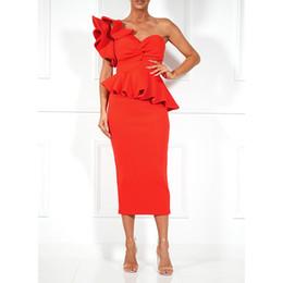 embelleció los vestidos largos moldeados de la manga Rebajas HIGH STREET New Fashion Runway 2018 Vestido de fiesta de diseño Vestido sin mangas con volantes de un hombro para mujer
