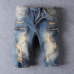 Wholesale gray pants fashion - Balmain Fashion Mens jeans Shorts Motorcycle biker jeans Rock Revival Short Pants Skinny Slim Ripped hole Men's Denim Shorts Designer Short