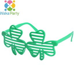 Wholesale Birthday Party Sunglasses - Shamrock St. Patrick's Day Sunglasses Plastic Eye Glasses Costume Party Accessory Irish Patrick Festival Decoration