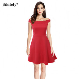 f733ae572877 Sikilely Lovely Cocktail Party Dress Short Red Vestido Little Black Plain  Womens Slash Neck Wave Summer A Line Dress High Street