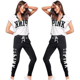 Wholesale usa suits - Summer Women PINK Letter Tracksuit 2pcs Yoga suits V Neck USA Flag Short Sleeve T Shirt+Bandage Pants Leggings Casual Jogger Gym Outfits