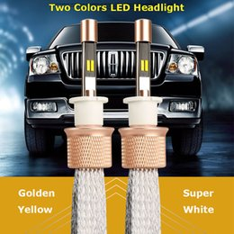 Wholesale H4 Color - 2pcs Auto HeadLight H4 Dual Color Led Bulbs 3000k and 6000k LED Car Driving Headlights 90W 9600lm Headlamps for Land Rover AUDI Autoart