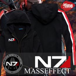 chaqueta de efecto masivo n7 Rebajas Enfriar Juego Mass Effect 3 N7 Algodón Blende Cosplay Traje Con Capucha Chaqueta de la capa Nuevo Envío gratis