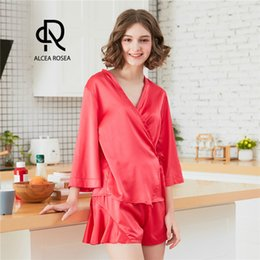 Alcea Rosea Solid Pajamas Set Women Satin Silk-Like Pajamas Half Long Sleeve  Tops and Shorts Bottom Red Loose Nightwear AR575 0830c935f