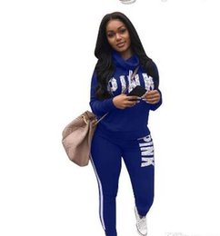 Wholesale winter climbing pants - sell PINK Woman Tracksuit Long Sleeve Hoodies Sweatshirts Winter Sporting Suits Women Letter Print Pants Black blue red green sweater