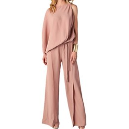 6f8cdb005e74 Fashion One-shoulder Long Sleeve Jumpsuit Plus Size 3XL Women Waist Loose Long  Jumpsuit One-piece Pants Overalls w Sashes