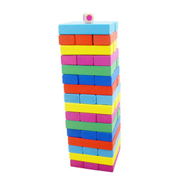 Wholesale family classic - Jenga 48pcs Multicolor Classic Building Blocks Wooden Material Interesting DIY Toys Puzzle Family Board Game High Quality 7 9zc W
