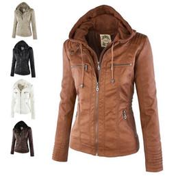 Wholesale Pu Leather Xxl Women - Fashion Zipper Women Hooded PU Leather Jacket S-XXL, Khaki  Apricot  Black  Brown  White