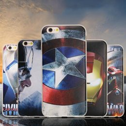 Wholesale Captain Painting - Painted Embossed Phone Case Transparent TPU all-inclusive drop-resistant protective cover Captain America phone shell