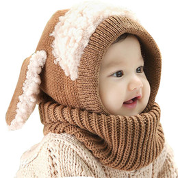 Wholesale toddler crochet beanies scarfs - Baby Rabbit Ears Knitted Hat Infant Toddler Winter Cap Beanie Warm Hat Hooded Scarf Earflap Knitted Hat