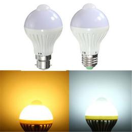 Wholesale Sensor Globe - Auto PIR Motion Sensor Light E27 B22 7W AC85-265V 5730 SMD Infrared Energy Saving LED Light Bulb Pure Warm White