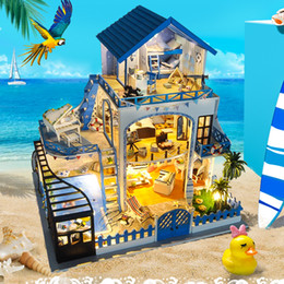 diy wood toys Promo Codes - Sylvanian Families House DIY Hut Blue Love Sea Handmade Creative Model Wood DIY Dollhouse Toys for Girls Valentine Gifts Toys