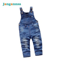 Wholesale jeans jumpsuit baby girl - Star Denim Baby Overalls Fashion Infant Jeans Baby Cute Jumpsuits Autumn Boys Girls Overall Cotton Blue Jean Baby Boys Clothing
