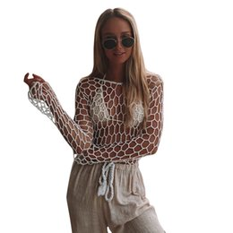 aad10f87b8 Sexy Women Transparent Knitted Swimwear Cover Up Hollow Out Fishnet Summer  Top O Neck Long Sleeve Beachwear Ladies Knitwear 2019