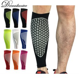Wholesale Arm Pads White - Men Running Basketball Calf Leg Brace Support Leg Pads Shin Guards Compression Calf Sleeves Football Volleyball Sport Safety