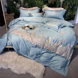 Weiße spitzenbettwäsche-sets online-Blue Luxury White Lace Stickerei ägyptischer Baumwolle 4 / 5pcs Bettwäsche Set Bettbezug Bettwäsche Bettlaken Kissenbezüge König Queen-Size