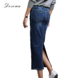 Wholesale High Waist Skirt Korean - Wholesale- women's long denim skirt 2017 korean style back split long stretch denim skirt autumn winter high waist jeans wrap hip skirt