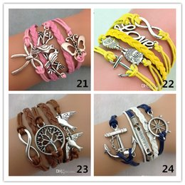 Wholesale Multi Charm Bracelets - 24 styles mix infinity bracelets with multi colors layers charm bracelet fashion jewlery for man or women M005