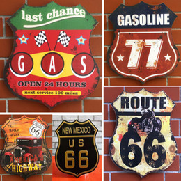 Wholesale Antique Wall Murals - Wall Decoration Europe retro 66th Road wood painting Bar Café restaurant clubhouse personality mural 34x30X0.9cm