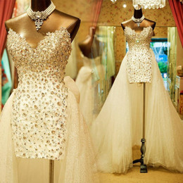 casamento dianteiro curto destacável Desconto High Low short Wedding Dresses With Detachable Skirt Luxury Crystals Corset Sparkly Sweetheart Short Front Beach Bridal Gowns Real Photo