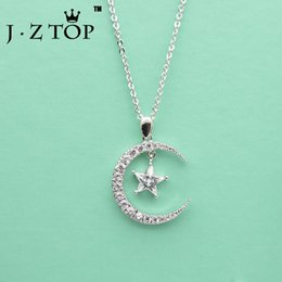 Wholesale Necklace Full Moon - whole saleJZTOP Moon Star Full Zircon Necklace Geometry Chain Pendant Choker Necklace Woman Exquisite Banquet Party Collier Jewelry Gift