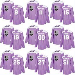 Габорин-трикотаж онлайн-Лос-Анджелес Кингз хоккей борется с раком практика 11 АНЗ Копитар 23 Дастин Браун 32 Джонатан быстрый 8 обратил Даути Габорик фиолетовый Джерси