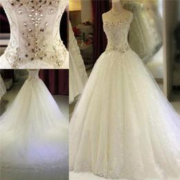 Кружевные корсеты горный хрусталь свадебные платья онлайн-Кристалл Стразы Милая Свадебные платья Luxury линия Lace Блестки корсет Назад Свадебные платья сшитое