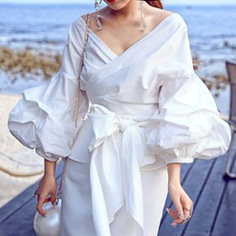 Wholesale Short Puff Ladies Blouse - 2018 Sping Summer New Women Puff Sleeve Sexy Wrap Shirt Female Bow Tie Slim Blouse High Street Tops Office Lady Style