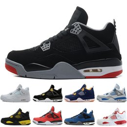 Wholesale military denim - 4 4s Men Basketball Shoes Pure Money Black Cat Bred Oreo Fear Pack Royalty Toro Bravo Angry bull Military Blue White Athletic Sport Sneakers